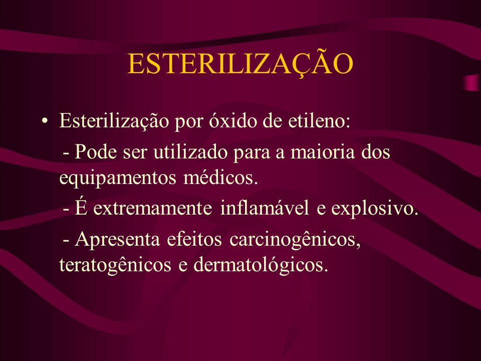 ESTERILIZAÇÃO Esterilização por óxido de etileno: - Pode ser utilizado para a maioria dos equipamentos médicos.