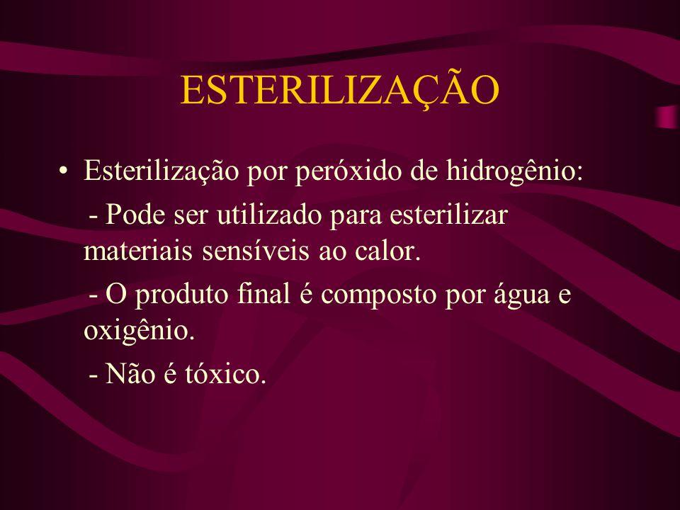 ESTERILIZAÇÃO Esterilização por peróxido de hidrogênio: - Pode ser utilizado para esterilizar materiais sensíveis ao calor.