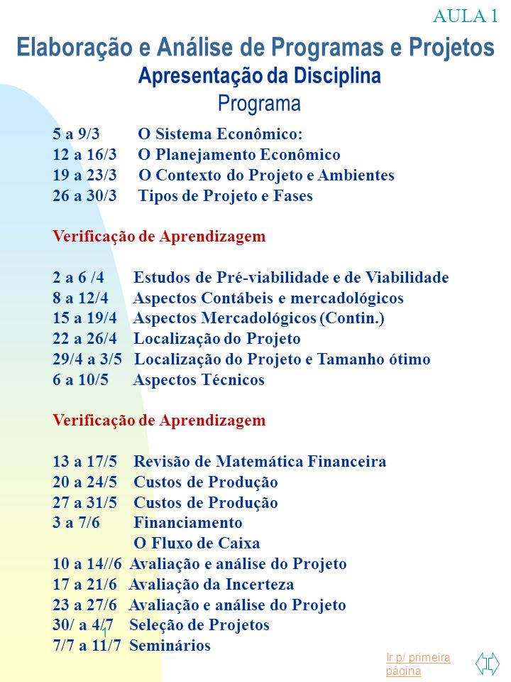 Ir p/ primeira página 1 Apresentação da Disciplina Programa 5 a 9/3 O Sistema Econômico: 12 a 16/3 O Planejamento Econômico 19 a 23/3 O Contexto do Pr