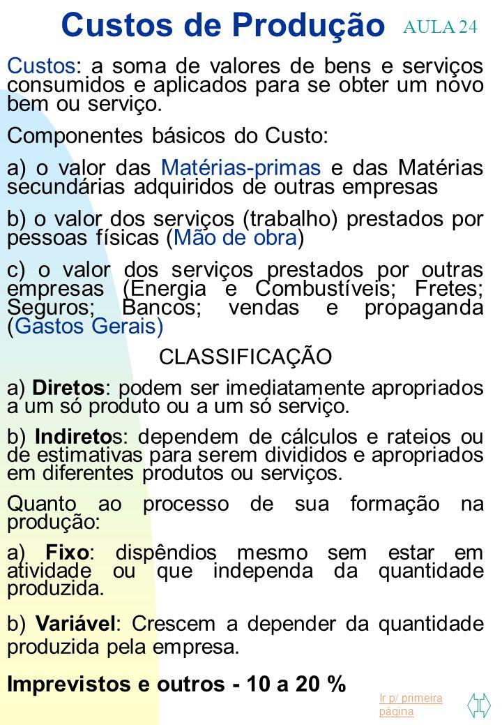 Ir p/ primeira página Custos de Produção AULA 24 Custos: a soma de valores de bens e serviços consumidos e aplicados para se obter um novo bem ou serv