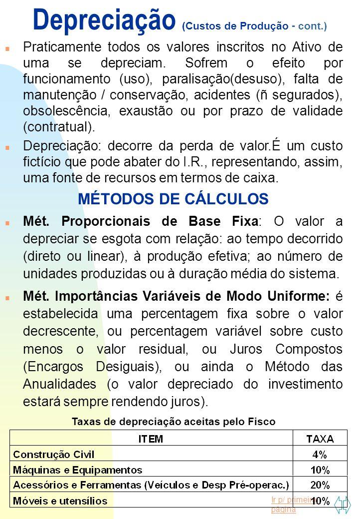 Ir p/ primeira página Custos de Produção (cont.) PONTO DE EQUILÍBRIO: indica o grau em que um erro na projeção das vendas não gera perdas efetivas ao projeto ou à empresa.