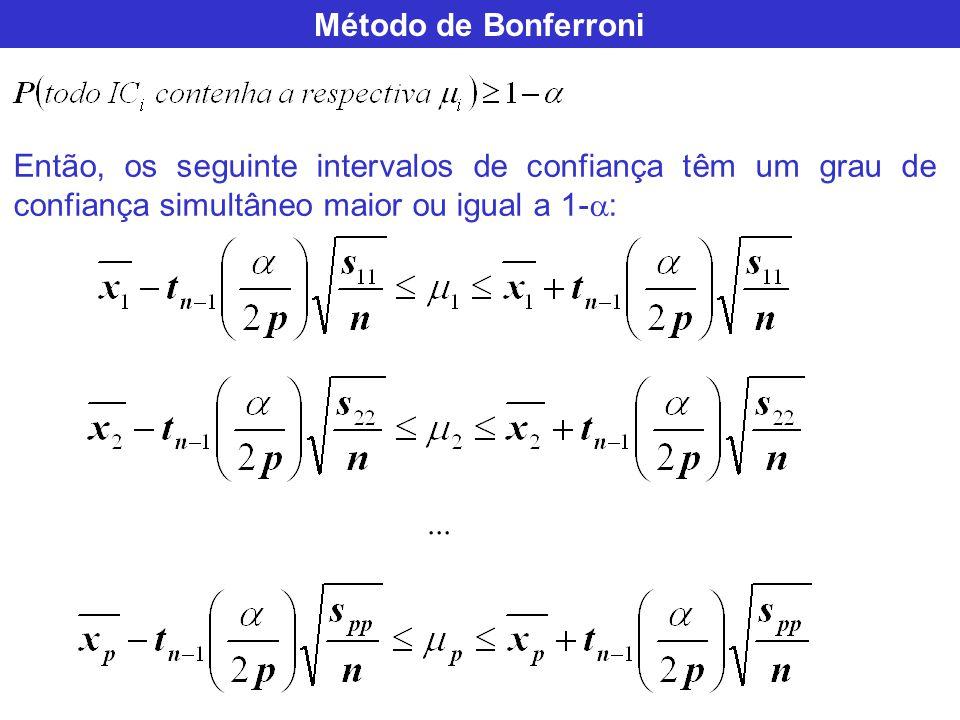 Método de Bonferroni Então, os seguinte intervalos de confiança têm um grau de confiança simultâneo maior ou igual a 1- :...