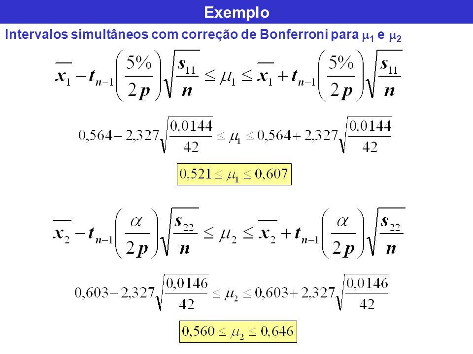 Exemplo Intervalos simultâneos com correção de Bonferroni para 1 e 2