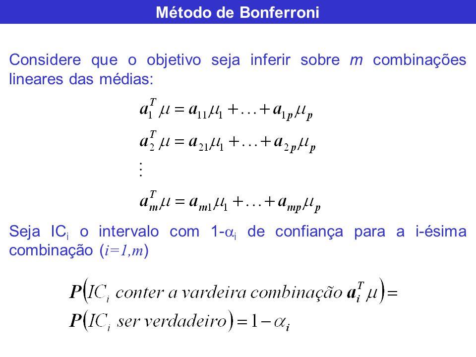 Método de Bonferroni Considere que o objetivo seja inferir sobre m combinações lineares das médias: Seja IC i o intervalo com 1- i de confiança para a