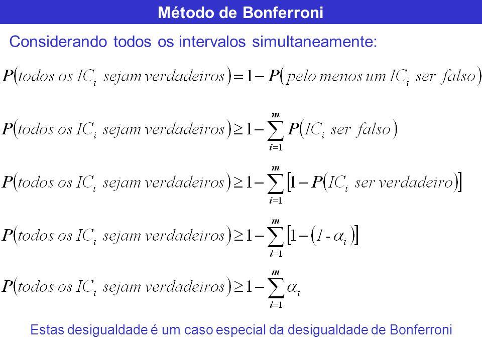 Método de Bonferroni Considerando todos os intervalos simultaneamente: Estas desigualdade é um caso especial da desigualdade de Bonferroni