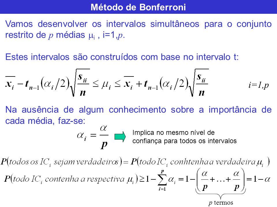 Método de Bonferroni Vamos desenvolver os intervalos simultâneos para o conjunto restrito de p médias i, i=1, p. Estes intervalos são construídos com