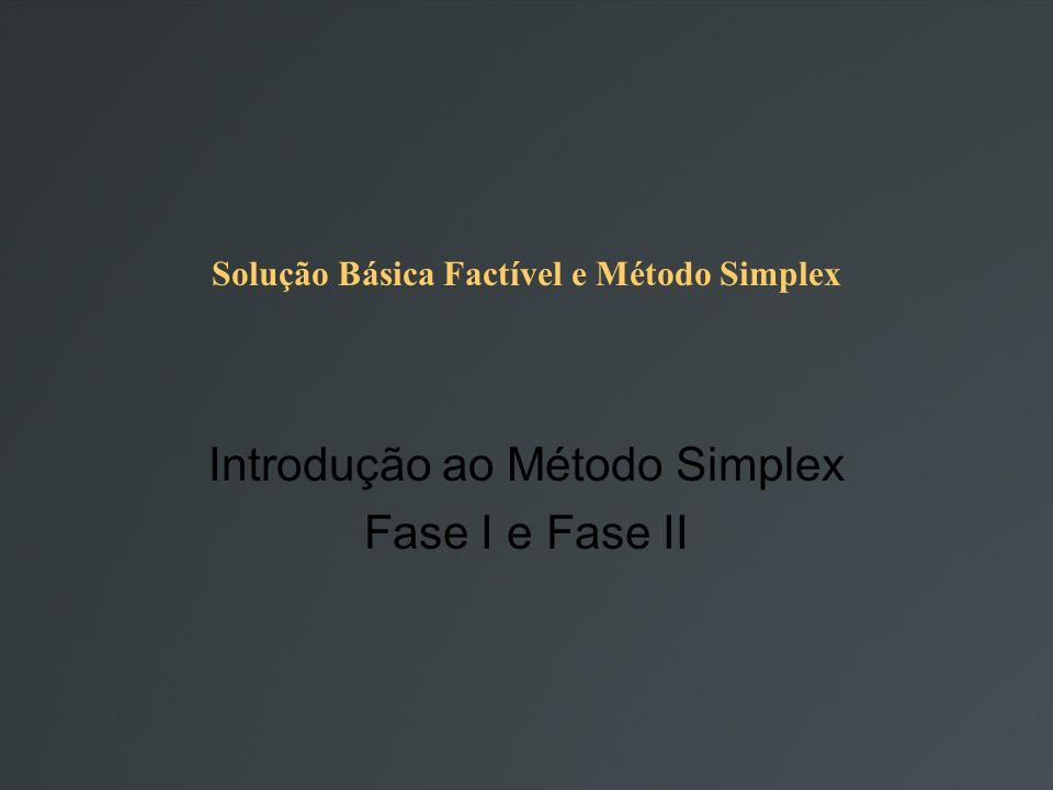 Solução Básica Factível e Método Simplex Introdução ao Método Simplex Fase I e Fase II