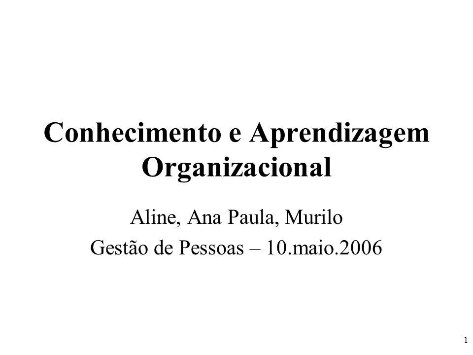 1 Conhecimento e Aprendizagem Organizacional Aline, Ana Paula, Murilo Gestão de Pessoas – 10.maio.2006