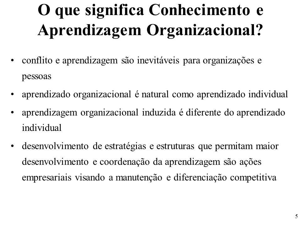 5 O que significa Conhecimento e Aprendizagem Organizacional? conflito e aprendizagem são inevitáveis para organizações e pessoas aprendizado organiza