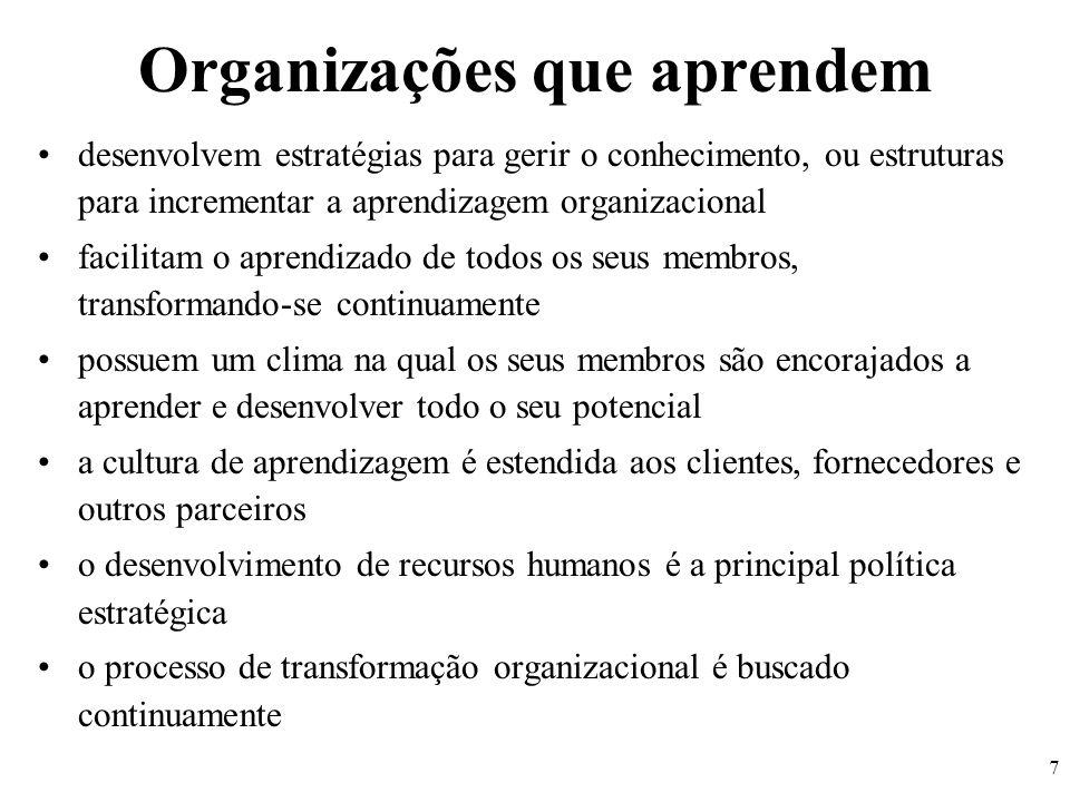 7 Organizações que aprendem desenvolvem estratégias para gerir o conhecimento, ou estruturas para incrementar a aprendizagem organizacional facilitam
