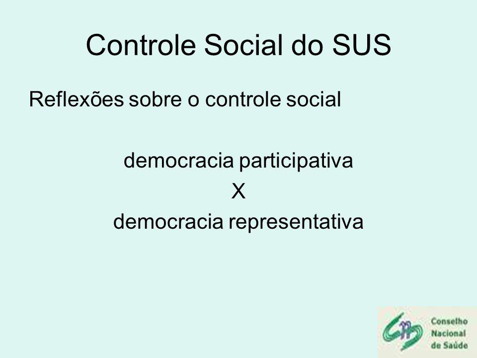 Controle Social do SUS Reflexões sobre o controle social democracia participativa X democracia representativa