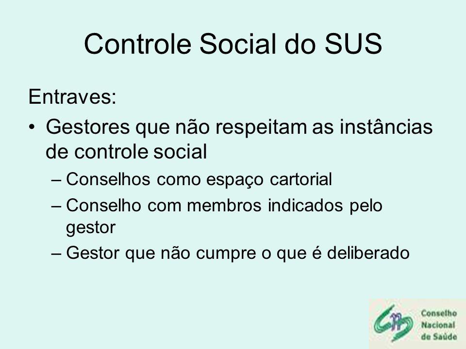 Controle Social do SUS Entraves: Gestores que não respeitam as instâncias de controle social –Conselhos como espaço cartorial –Conselho com membros in