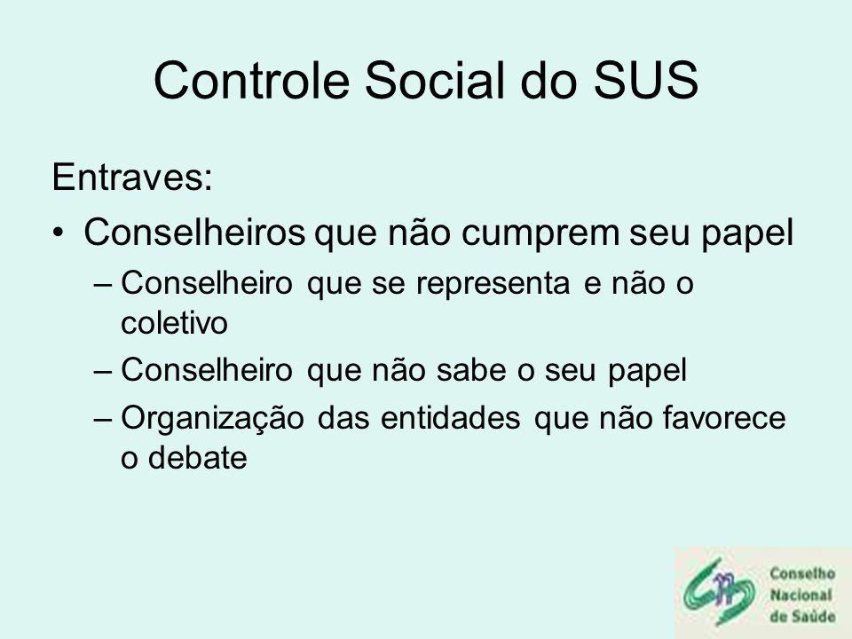 Controle Social do SUS Entraves: Conselheiros que não cumprem seu papel –Conselheiro que se representa e não o coletivo –Conselheiro que não sabe o se