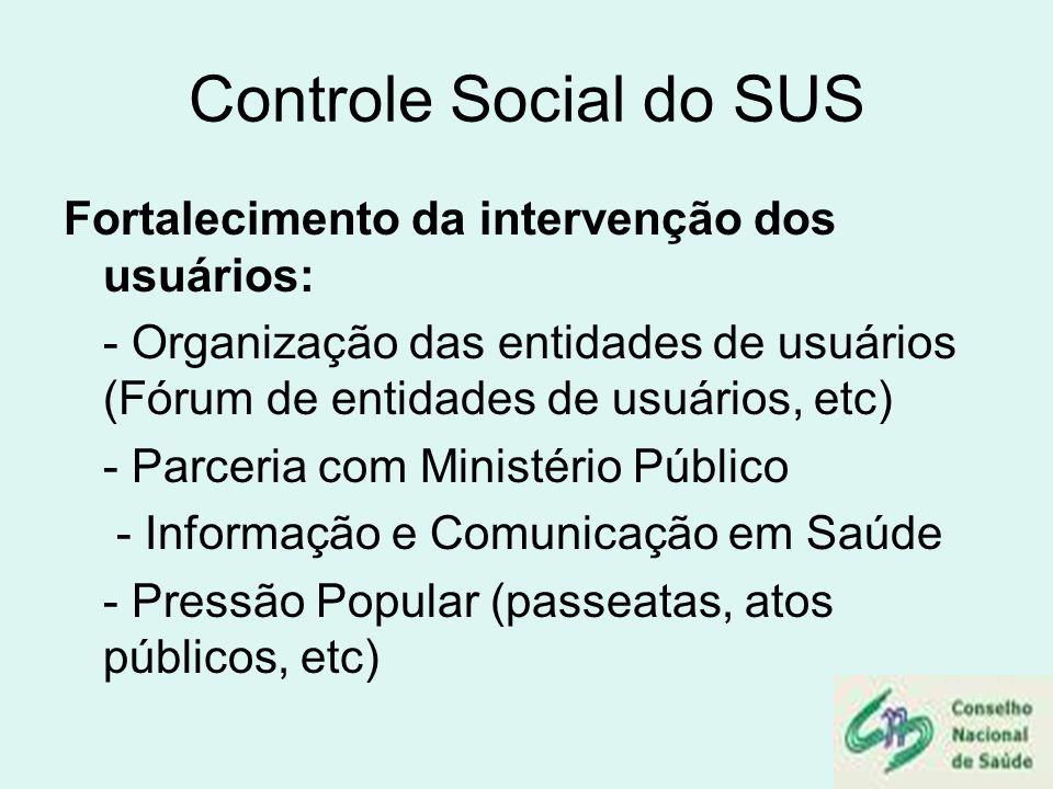 Controle Social do SUS Fortalecimento da intervenção dos usuários: - Organização das entidades de usuários (Fórum de entidades de usuários, etc) - Par