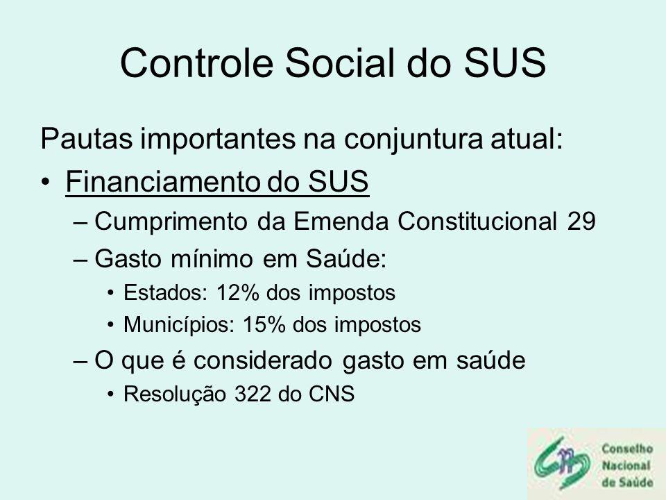 Controle Social do SUS Pautas importantes na conjuntura atual: Financiamento do SUS –Cumprimento da Emenda Constitucional 29 –Gasto mínimo em Saúde: E