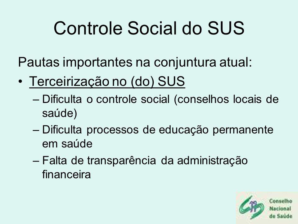 Controle Social do SUS Pautas importantes na conjuntura atual: Terceirização no (do) SUS –Dificulta o controle social (conselhos locais de saúde) –Dif