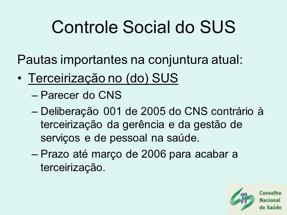 Controle Social do SUS Pautas importantes na conjuntura atual: Terceirização no (do) SUS –Parecer do CNS –Deliberação 001 de 2005 do CNS contrário à t