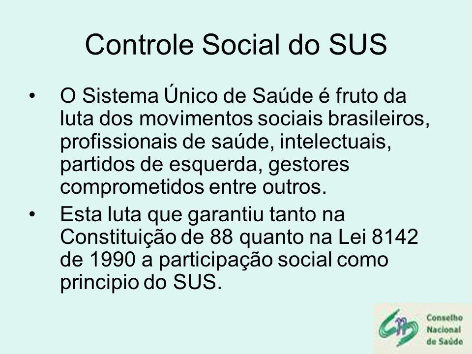 Controle Social do SUS O Sistema Único de Saúde é fruto da luta dos movimentos sociais brasileiros, profissionais de saúde, intelectuais, partidos de