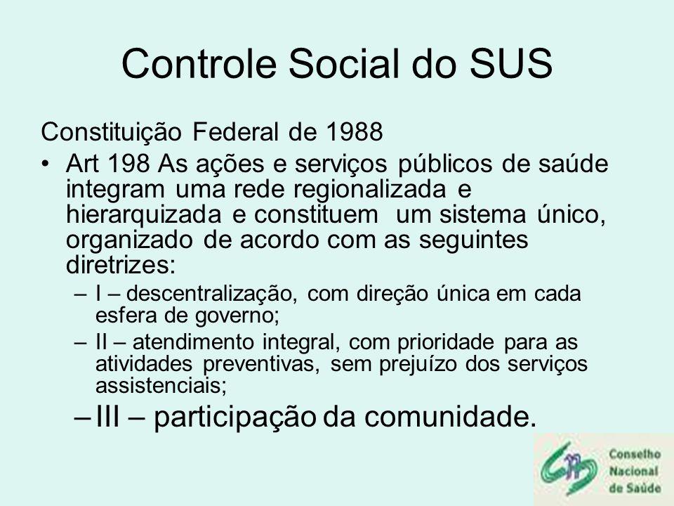 Controle Social do SUS Constituição Federal de 1988 Art 198 As ações e serviços públicos de saúde integram uma rede regionalizada e hierarquizada e co
