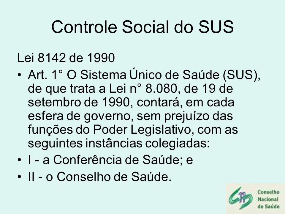 Controle Social do SUS Lei 8142 de 1990 Art. 1° O Sistema Único de Saúde (SUS), de que trata a Lei n° 8.080, de 19 de setembro de 1990, contará, em ca