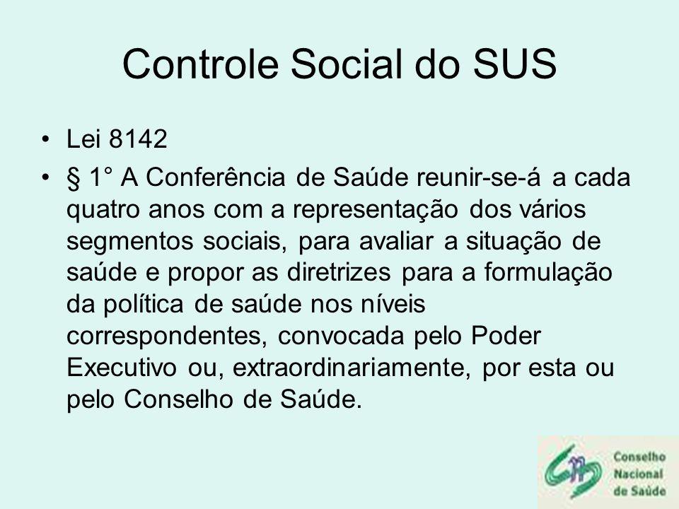 Controle Social do SUS Lei 8142 § 1° A Conferência de Saúde reunir-se-á a cada quatro anos com a representação dos vários segmentos sociais, para aval