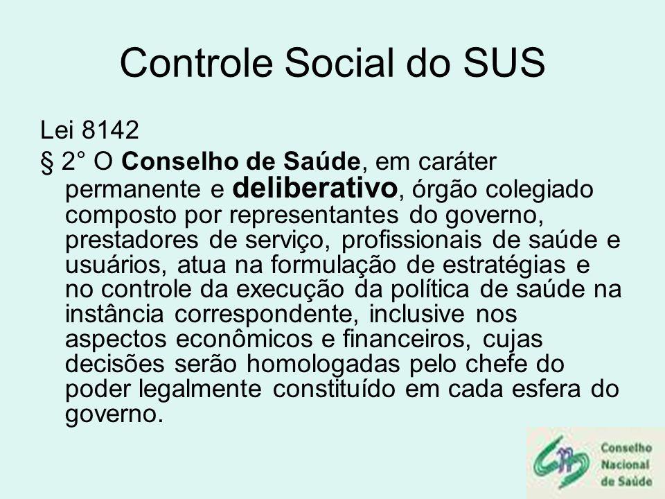 Controle Social do SUS Lei 8142 § 2° O Conselho de Saúde, em caráter permanente e deliberativo, órgão colegiado composto por representantes do governo