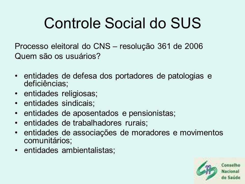 Controle Social do SUS Processo eleitoral do CNS – resolução 361 de 2006 Quem são os usuários? entidades de defesa dos portadores de patologias e defi