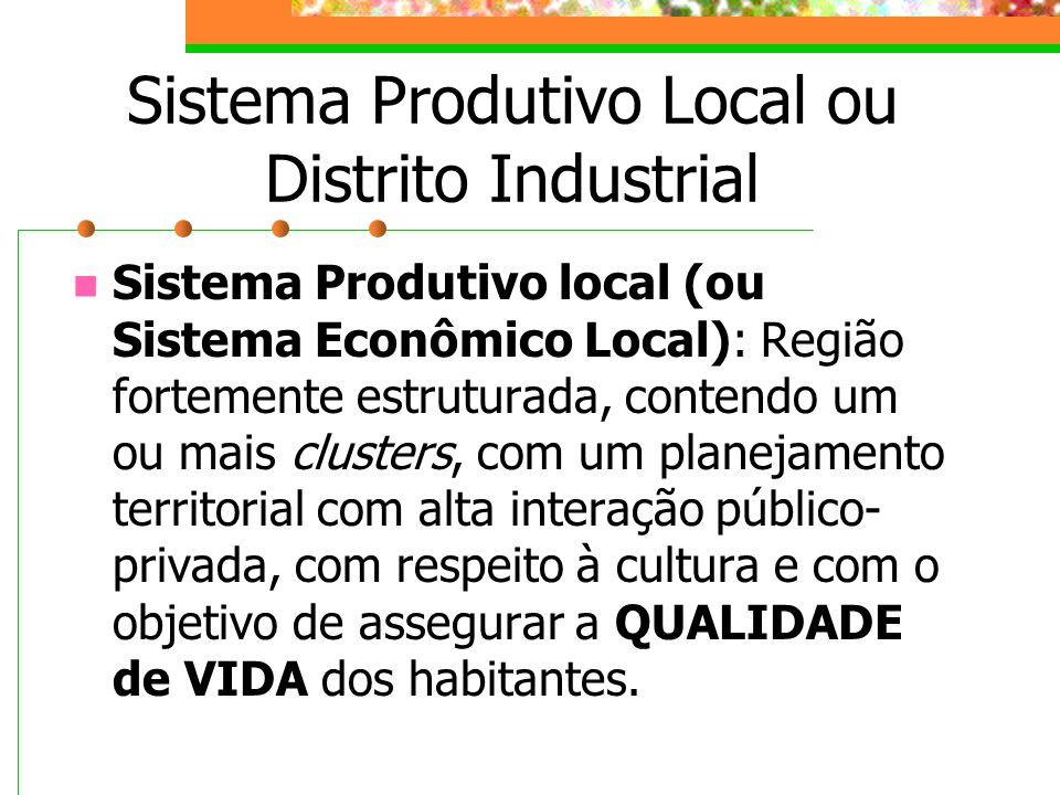 Sistema Produtivo Local ou Distrito Industrial Sistema Produtivo local (ou Sistema Econômico Local): Região fortemente estruturada, contendo um ou mais clusters, com um planejamento territorial com alta interação público- privada, com respeito à cultura e com o objetivo de assegurar a QUALIDADE de VIDA dos habitantes.