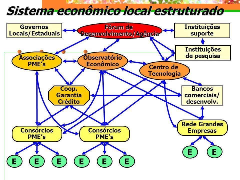 Sistema econômico local estruturado Fórum de Desenvolvimento/Agência Observatório Econômico Associações PMEs Centro de Tecnologia Governos Locais/Estaduais Instituições de pesquisa Rede Grandes Empresas Consórcios PMEs Consórcios PMEs Coop.