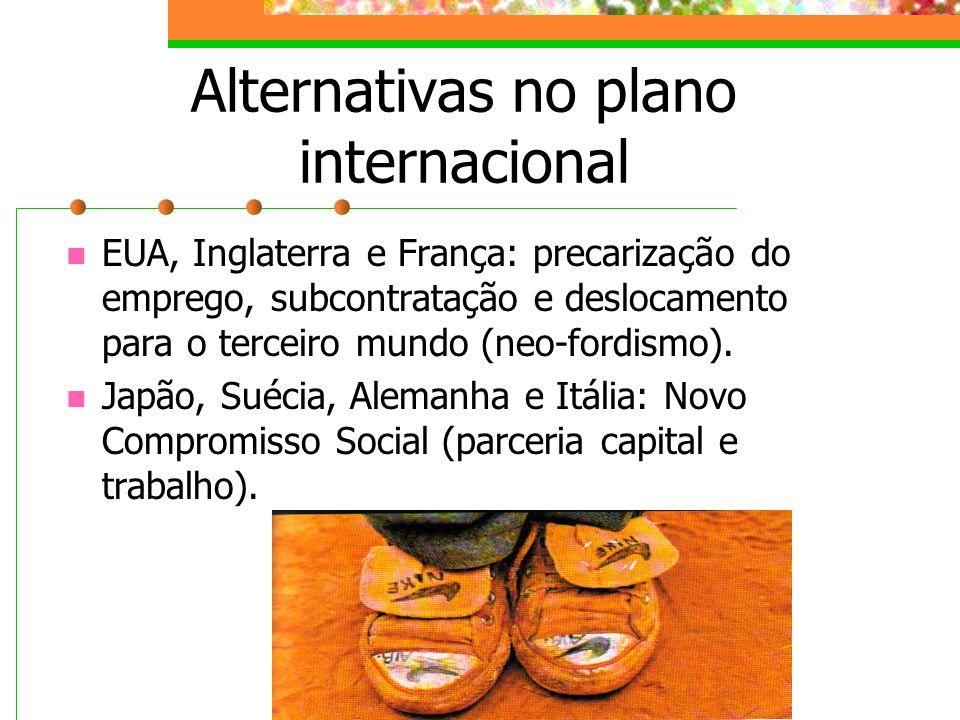 Alternativas no plano internacional EUA, Inglaterra e França: precarização do emprego, subcontratação e deslocamento para o terceiro mundo (neo-fordismo).