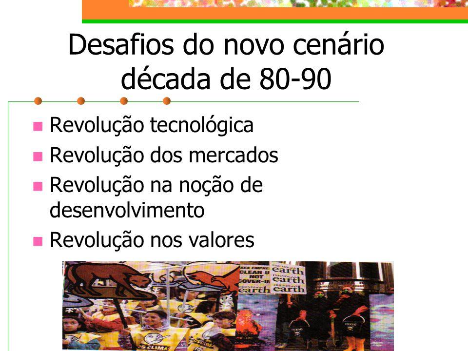 Desafios do novo cenário década de 80-90 Revolução tecnológica Revolução dos mercados Revolução na noção de desenvolvimento Revolução nos valores