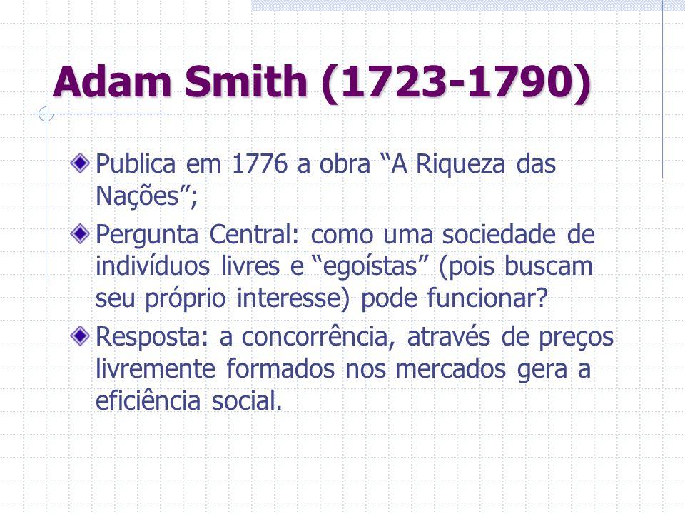 Adam Smith (1723-1790) Publica em 1776 a obra A Riqueza das Nações; Pergunta Central: como uma sociedade de indivíduos livres e egoístas (pois buscam