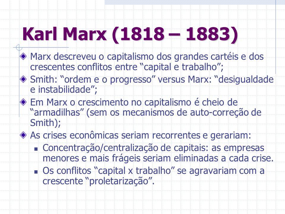 Karl Marx (1818 – 1883) Marx descreveu o capitalismo dos grandes cartéis e dos crescentes conflitos entre capital e trabalho; Smith: ordem e o progres