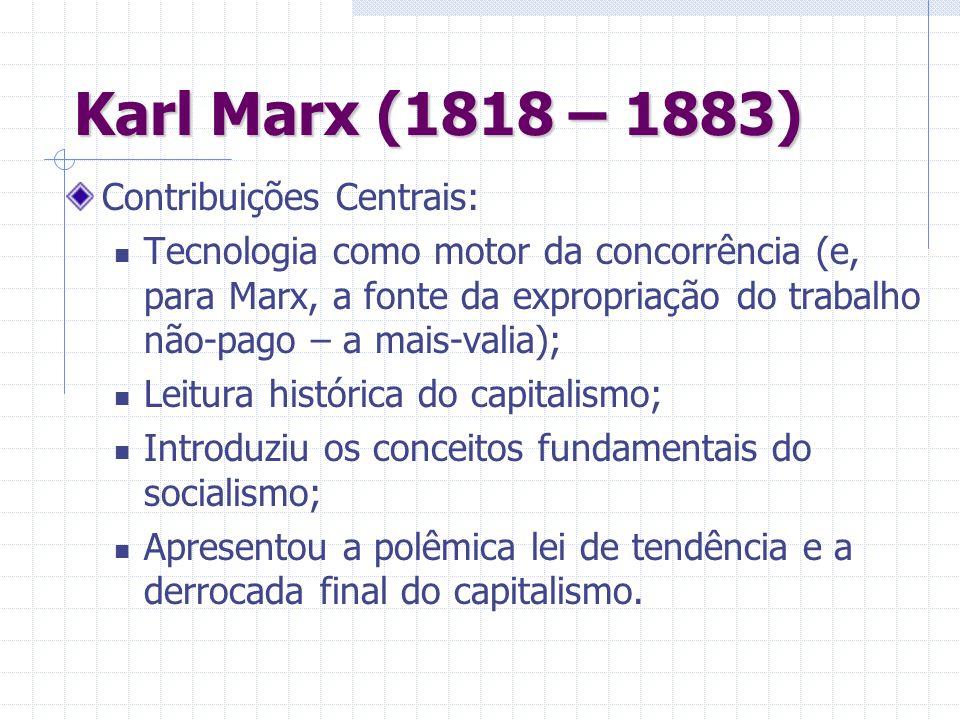 Karl Marx (1818 – 1883) Contribuições Centrais: Tecnologia como motor da concorrência (e, para Marx, a fonte da expropriação do trabalho não-pago – a