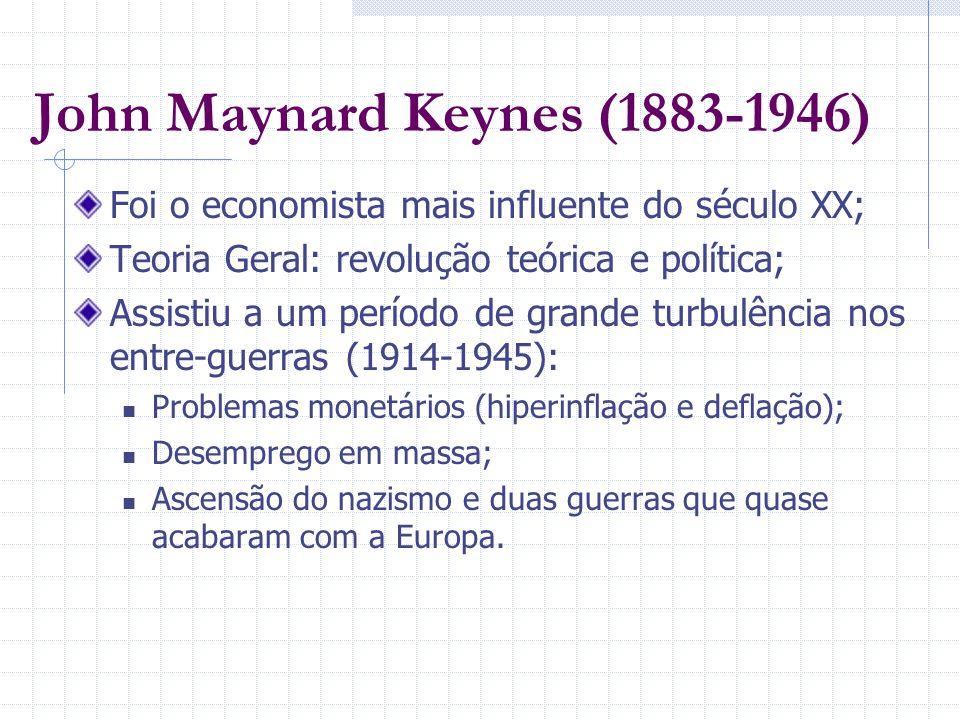 John Maynard Keynes (1883-1946) Foi o economista mais influente do século XX; Teoria Geral: revolução teórica e política; Assistiu a um período de gra
