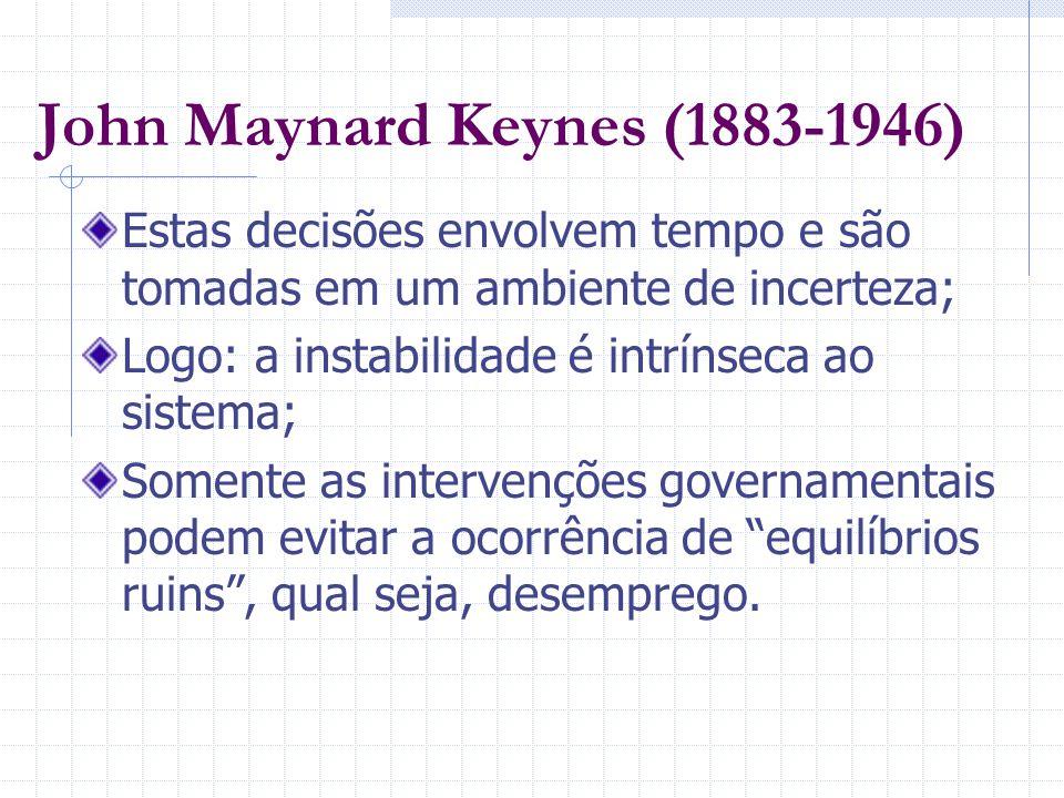 John Maynard Keynes (1883-1946) Estas decisões envolvem tempo e são tomadas em um ambiente de incerteza; Logo: a instabilidade é intrínseca ao sistema