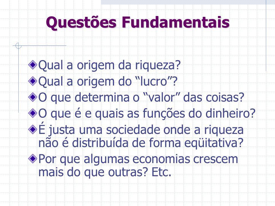 Questões Fundamentais Qual a origem da riqueza? Qual a origem do lucro? O que determina o valor das coisas? O que é e quais as funções do dinheiro? É