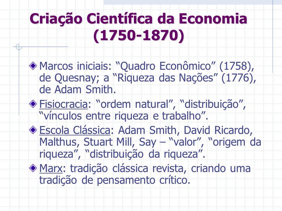 Criação Científica da Economia (1750-1870) Marcos iniciais: Quadro Econômico (1758), de Quesnay; a Riqueza das Nações (1776), de Adam Smith. Fisiocrac