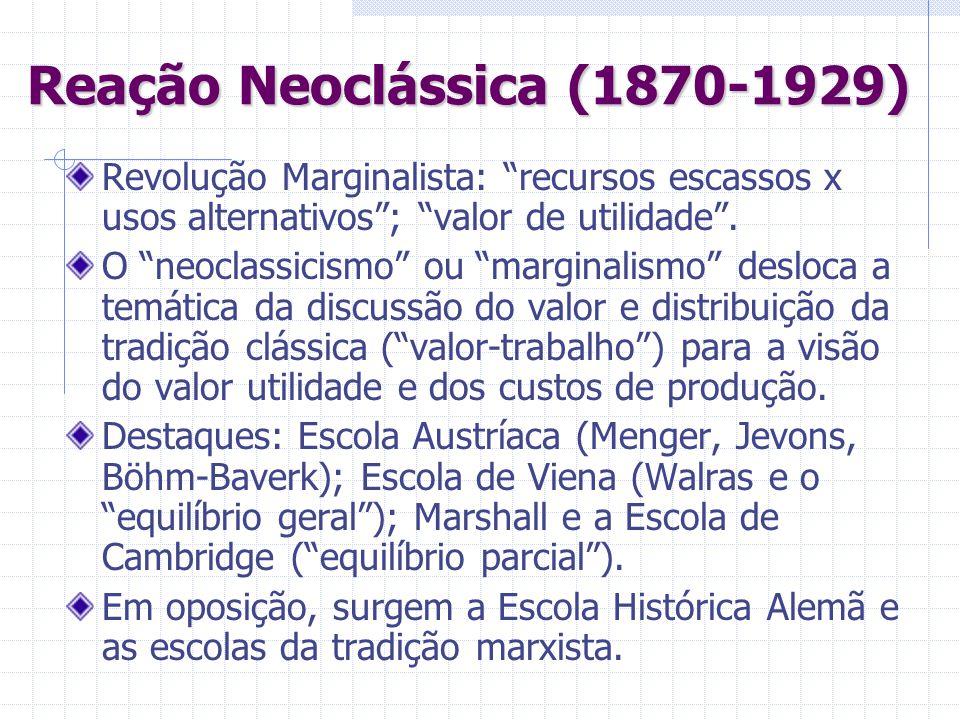 Reação Neoclássica (1870-1929) Revolução Marginalista: recursos escassos x usos alternativos; valor de utilidade. O neoclassicismo ou marginalismo des