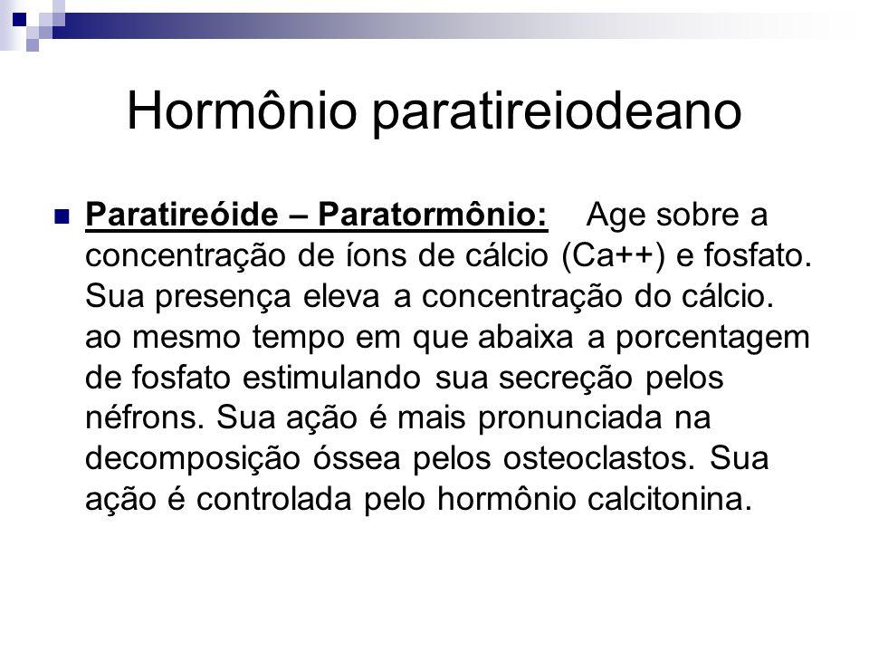 Hormônio paratireiodeano Paratireóide – Paratormônio: Age sobre a concentração de íons de cálcio (Ca++) e fosfato. Sua presença eleva a concentração d