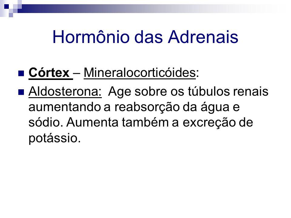 Hormônio das Adrenais Córtex – Mineralocorticóides: Aldosterona: Age sobre os túbulos renais aumentando a reabsorção da água e sódio. Aumenta também a