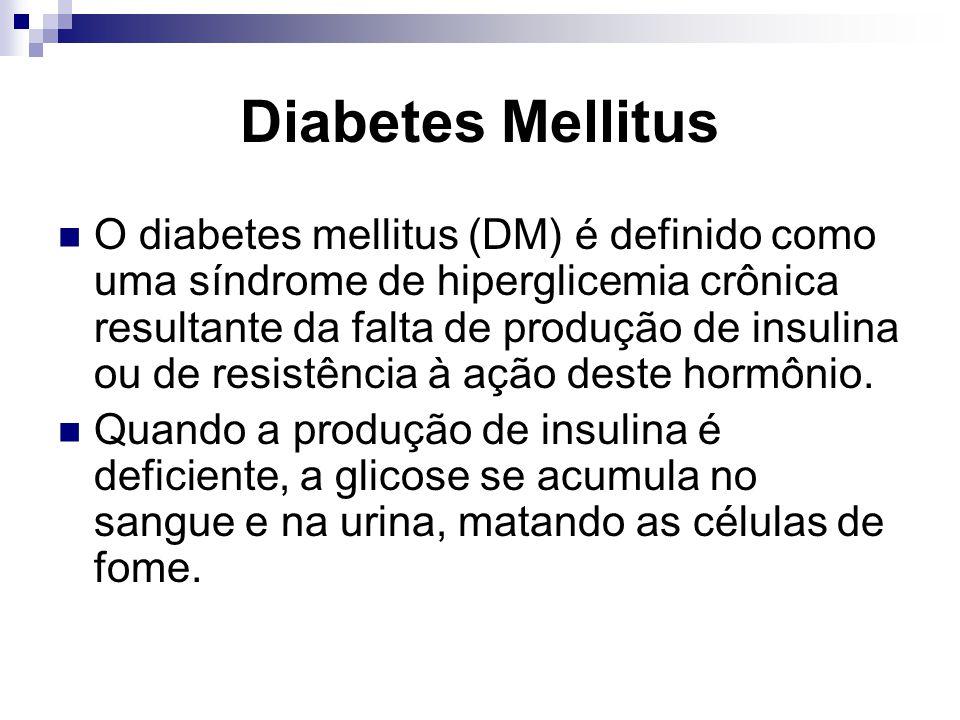 Diabetes Mellitus O diabetes mellitus (DM) é definido como uma síndrome de hiperglicemia crônica resultante da falta de produção de insulina ou de resistência à ação deste hormônio.