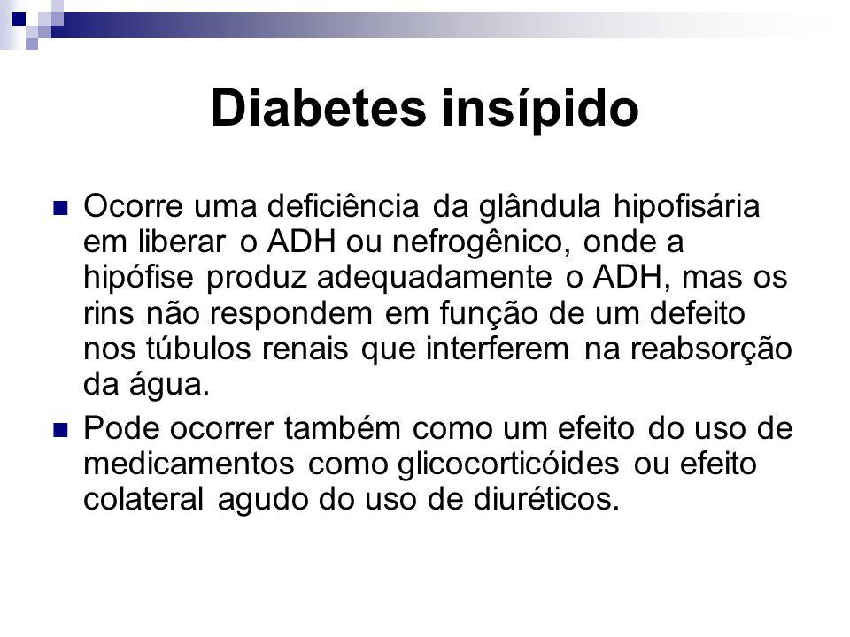 Diabetes insípido Ocorre uma deficiência da glândula hipofisária em liberar o ADH ou nefrogênico, onde a hipófise produz adequadamente o ADH, mas os r