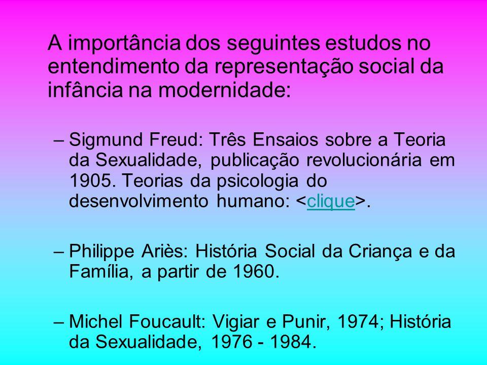 A importância dos seguintes estudos no entendimento da representação social da infância na modernidade: –Sigmund Freud: Três Ensaios sobre a Teoria da