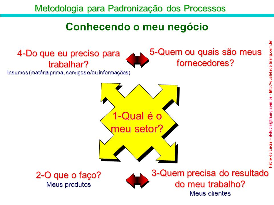 Metodologia para Padronização dos Processos Fábio de Lucia – delucia@triang.com.br - http://qualidade.triang.com.brdelucia@triang.com.br Conhecendo o
