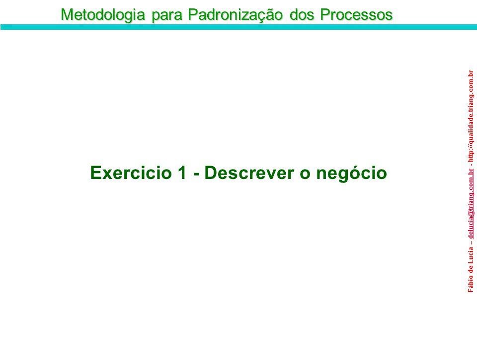 Metodologia para Padronização dos Processos Fábio de Lucia – delucia@triang.com.br - http://qualidade.triang.com.brdelucia@triang.com.br Exercicio 1 -