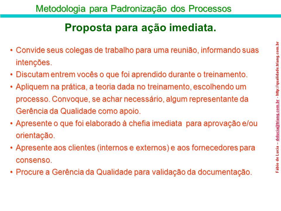 Metodologia para Padronização dos Processos Fábio de Lucia – delucia@triang.com.br - http://qualidade.triang.com.brdelucia@triang.com.br Proposta para