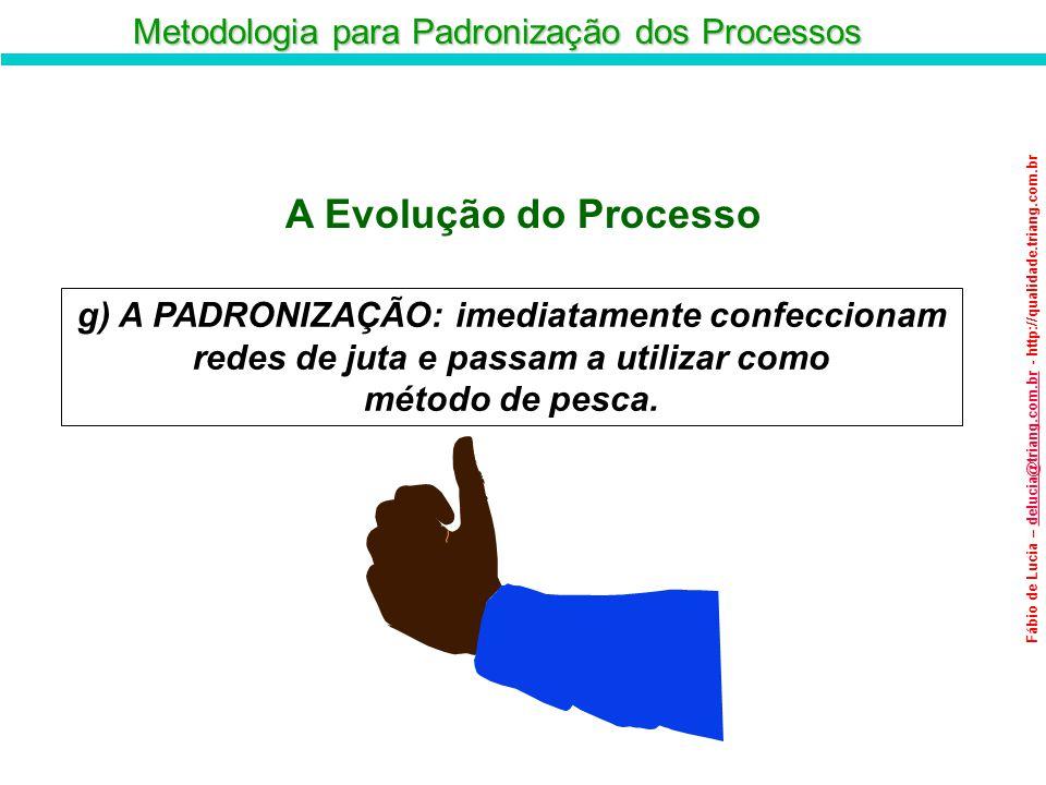 Metodologia para Padronização dos Processos Fábio de Lucia – delucia@triang.com.br - http://qualidade.triang.com.brdelucia@triang.com.br g) A PADRONIZ