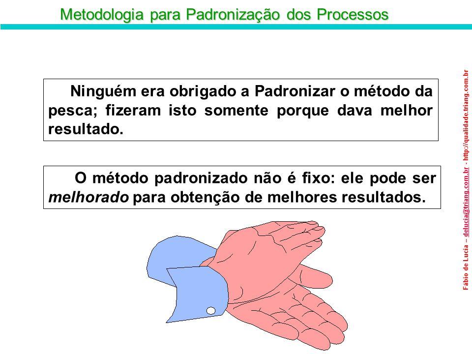 Metodologia para Padronização dos Processos Fábio de Lucia – delucia@triang.com.br - http://qualidade.triang.com.brdelucia@triang.com.br Ninguém era o
