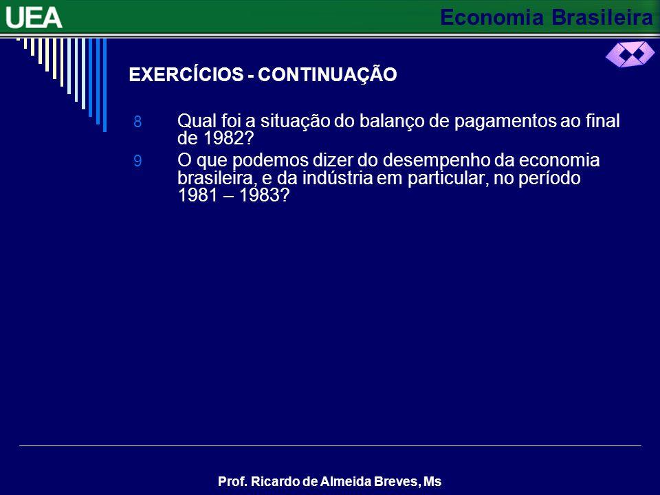 Economia Brasileira Prof. Ricardo de Almeida Breves, Ms EXERCÍCIOS - CONTINUAÇÃO 8 Qual foi a situação do balanço de pagamentos ao final de 1982? 9 O